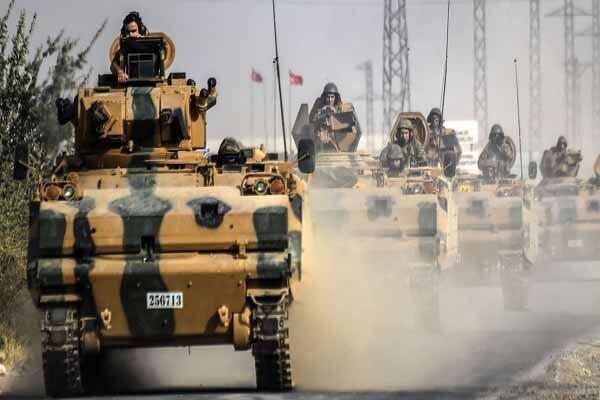 بمباران ستون نظامی ترکیه از سوی جنگنده های سوری