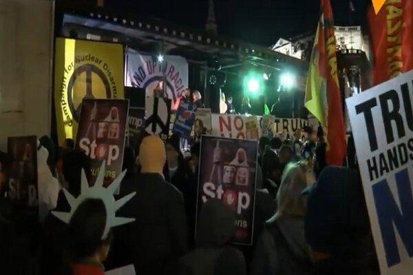تظاهرات اعتراض آمیز به حضور ترامپ در اجلاس ناتو شروع شد